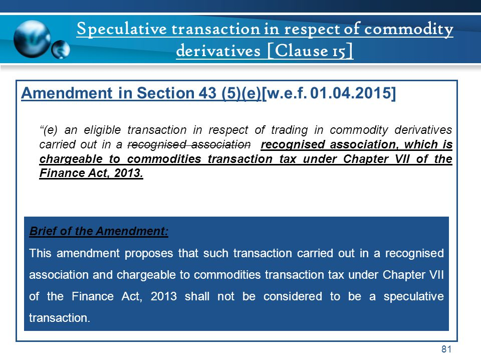 Speculative transaction in respect of commodity derivatives [Clause 15]